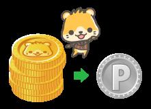 ポイントサイトCMサイトのキャラクターの犬とゲームでもらえるコイン